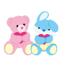 Bear and Rabbit Baby Toys vector