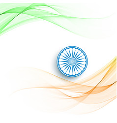 Beautiful wave style indian flag theme background vector
