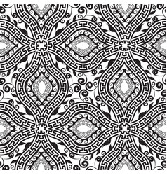 black and white floral greek key meander seamless vector image