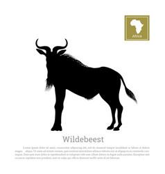 black silhouette wildebeest african animals vector image