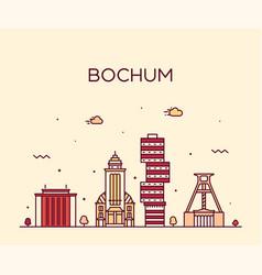 bochum skyline germany city linear style vector image