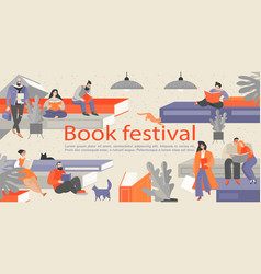 book festival banner with reading people vector image