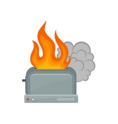 Broken toaster damaged home appliance vector
