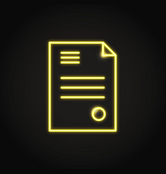 business contract icon in neon line style vector image