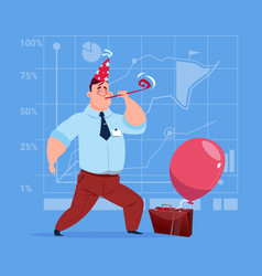 business man happy wear cap looking at gift box vector image