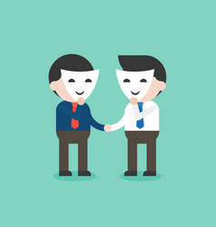 business people with smile mask shaking hands vector image