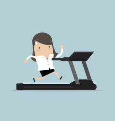 businesswoman running on treadmill vector image