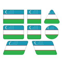 buttons with flag of Uzbekistan vector image vector image
