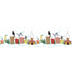 cartoon christmas seamless design with cats in vector image