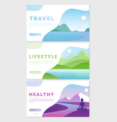 cartoon flat healthy lifestyle traveling concept vector image