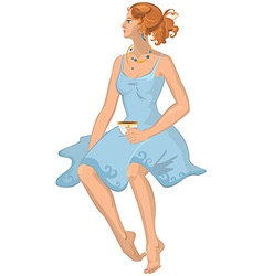 Cartoon young woman in blue dress with cap of vector image vector image