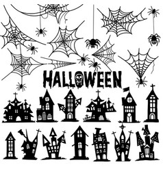 Castle and spider web halloween house and spider vector