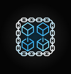 Chain with cubes blue linear icon blockchain vector