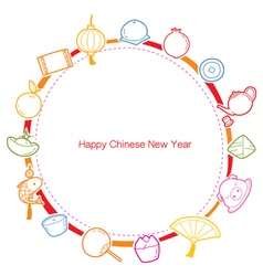 Chinese New Year Outline Icons Set On Round Frame vector