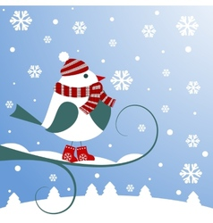 Christmas background with bird vector image