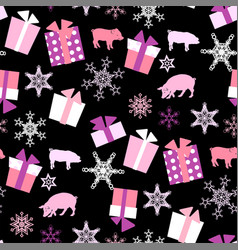 Christmas seamless pattern with pigs presents and vector