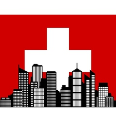city and flag of switzerland vector image