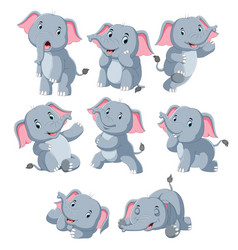 collection happy elephant with various posing vector image