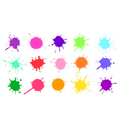 color paint splatter colorful ink stains vector image