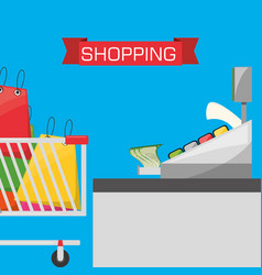 colorful store with shopping cart vector image