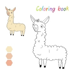 Coloring book lama kids layout for game vector