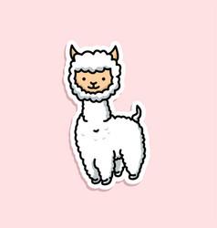 Cute animal alpaca sticker design vector