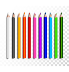 design set of realistic colored pencils on vector image