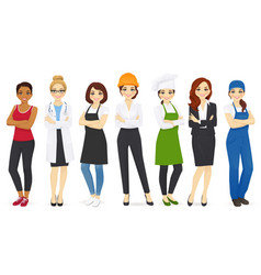 Different woman professions set vector