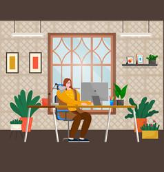 employee woman working with computer indoor vector image