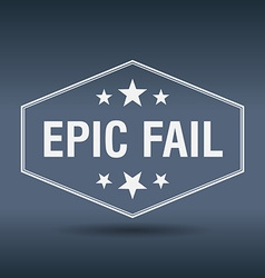 Epic fail hexagonal white vintage retro style vector
