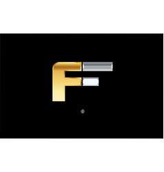 F silver gold letter alphabet logo icon design vector