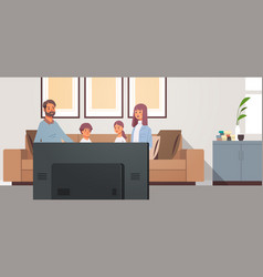 family watching tv daily news program parents vector image
