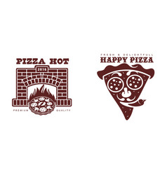 flat pizza icon pictogram set vector image