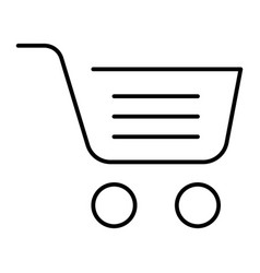 full shopping cart thin line icon market basket vector image