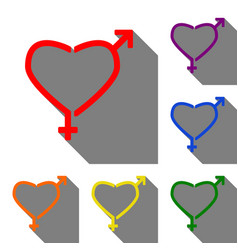gender signs in heart shape set of red orange vector image