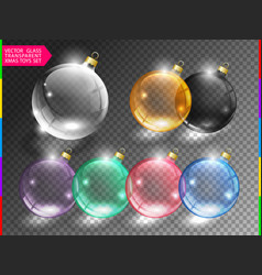 glass christmas tree ball toy set on transparent vector image