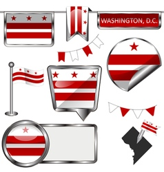 Glossy icons with Washingtonian DC flag vector