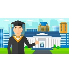 Graduate showing thumb up sign vector