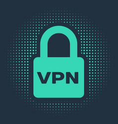 Green lock vpn icon isolated on blue background vector