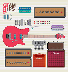 Guitar and amplifier for pattern vector
