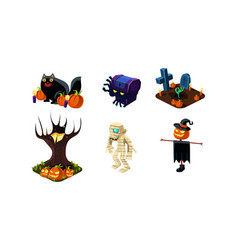 halloween related objects and creatures set user vector image