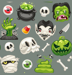 halloween seamless pattern with cartoon monsters vector image