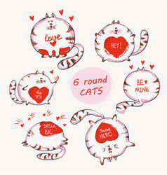 hand drawn cats set with words cute doodle vector image