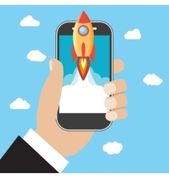 Hand holds smartphone with launch rocket vector image