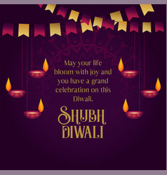 Happy diwali wishes greeting card design with vector