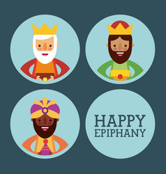 Happy epiphany three kings of orient celebration vector