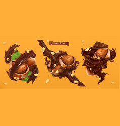 hazelnuts and chocolate splashes 3d realistic vector image
