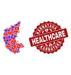 Healthcare collage of mosaic map of karnataka vector