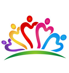 Heart people team logo vector