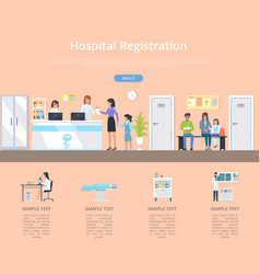 Hospital registration desk vector